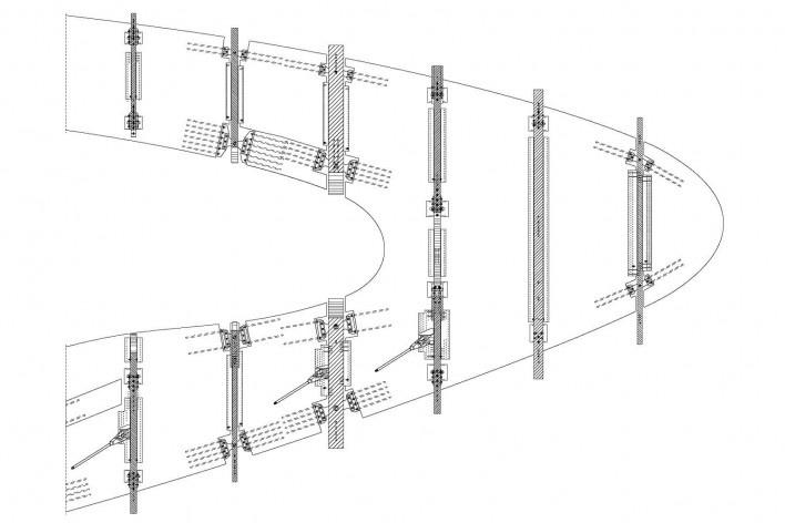 Metropol Parasol, detalhe técnico da estrutura de madeira, Sevilha. J. Mayer H. Architects, 2004<br />Desenho J. Mayer H. Architects