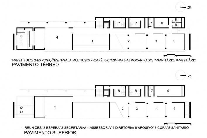Plantas pavimento térreo e superior<br />Desenho do autor