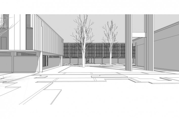 Saint Catherine's College, vista do espaço entre a biblioteca e o auditório, Oxford, Inglaterra, 1959-1964, arquiteto Arne Jacobsen<br />Modelo tridimensional de Edson Mahfuz e Ana Karina Christ