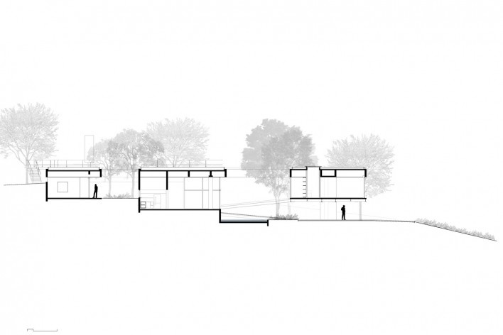 Casa em Cotia, UNA Arquitetos, 2016, corte AA<br />UNA Arquitetos
