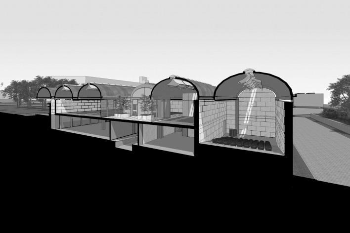 Museu de Arte Kimbell, corte perspectivado, Fort Worth, Texas, EUA, 1972. Arquiteto Louis I. Kahn<br />Modelo tridimensional Miguel Bernardi / Imagem Edson Mahfuz
