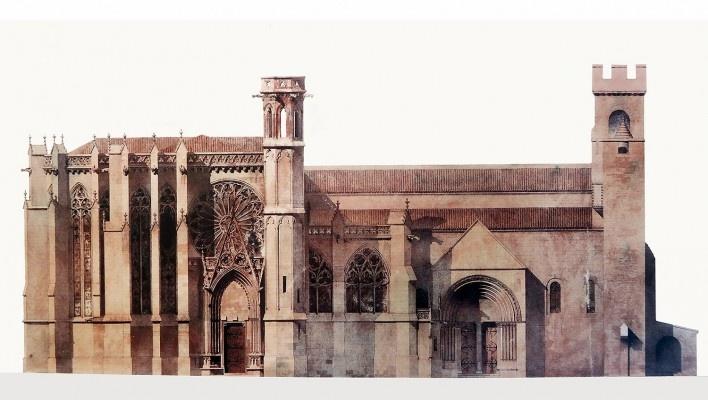Basílica de Saint-Nazaire e Saint-Celse, Carcassonne, França, desenho de Viollet-le-Duc<br />Foto Victor Hugo Mori