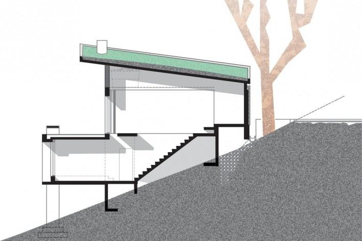 Residência SM (Casa Borboleta), corte, Caxias do Sul RS, arquitetos Fernando dos Santos Rocha Machado e Rovena Maria Schumacher<br />Imagem divulgação