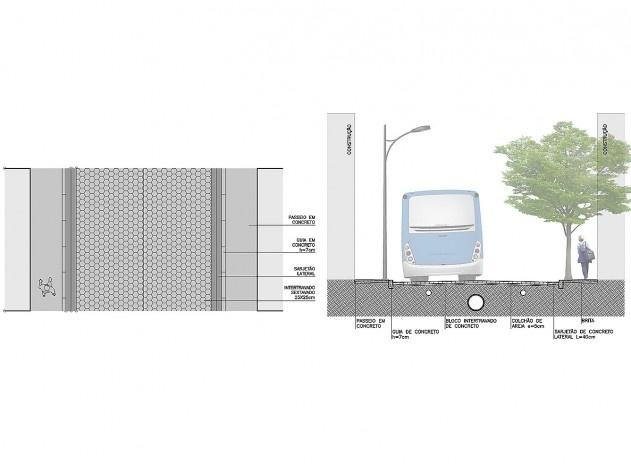 Diagrama de projeto. Detalhe da seção da via principal. Projeto de Urbanização Integrada <br />Fonte Boldarini Arquitetos Associados