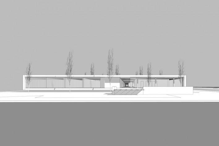 Aulário 3 (unidad de Alicante), vista exterior, San Vicente del Raspeig, Alicante, España, 2000. Arquitecto Javier Garcia-Solera<br />Modelo tridimensional e imagem Edson Mahfuz