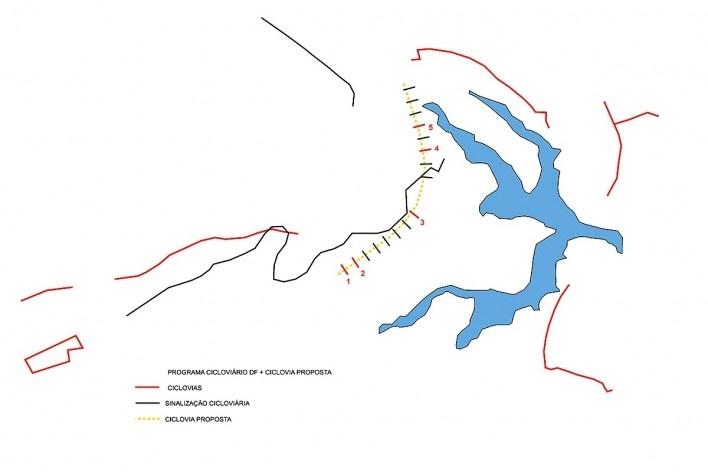 Implantação de ciclovia proposta com lago Paranoá, Plano Cicloviário de Brasilia e eixos em que serão implantados os projetos. Concurso Passagens sob o Eixão. Menção honrosa 04<br />divulgação
