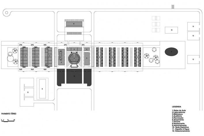 Escola Superior de Administração Fazendária – ESAF, planta do térreo, Brasília DF. 1. salas de aula; 2. laboratórios; 3. biblioteca; 4. auditório; 5. recreação; 6. alojamento; 7. piscina; 8. restaurante; 9. administração; 10. sede esportiva; 11. espelho d [Acervo PPMS]