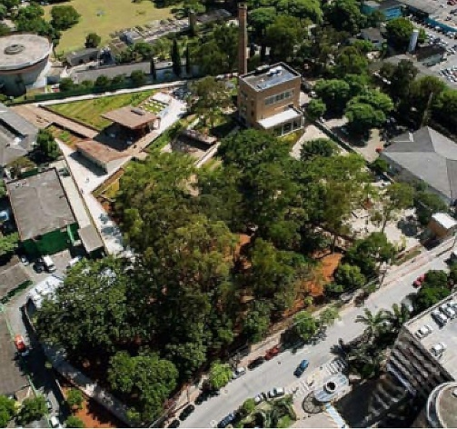 Praça Victor Civita - Museu Aberto da Sustentabilidade, vista aérea, São Paulo. Levisky Arquitetos Associados, 2008<br />Foto Nelson Kon