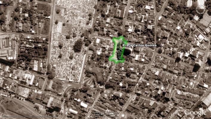 Vista aérea - Praça Carlos Gomes<br />Imagem dos autores do projeto