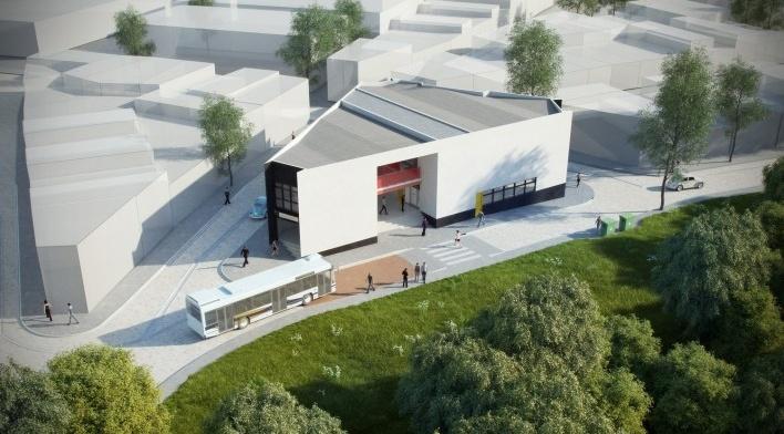 Projeto do Centro Comercial Santa Rita de Cássia<br />Fonte Boldarini Arquitetos Associados
