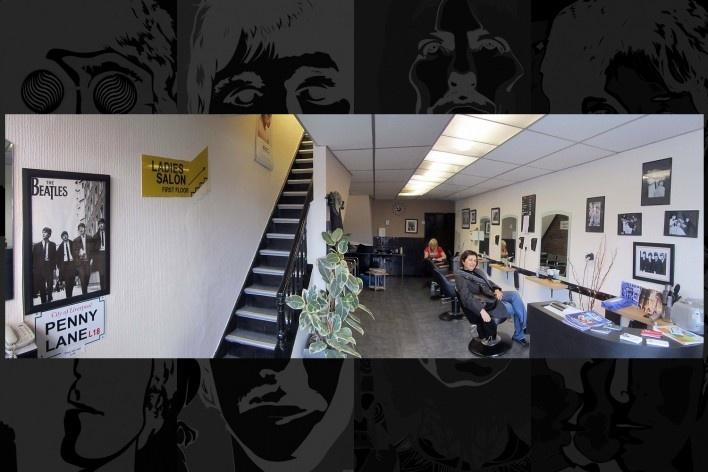 Barber Shop Penny Lane. Interior com as fotos dos integrantes da banda no local<br />Foto Victor Hugo Mori