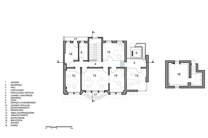 Casa Lutzenberger, à esquerda, planta do terceiro pavimento; à direita, planta do porão. Reforma Kiefer arquitetos