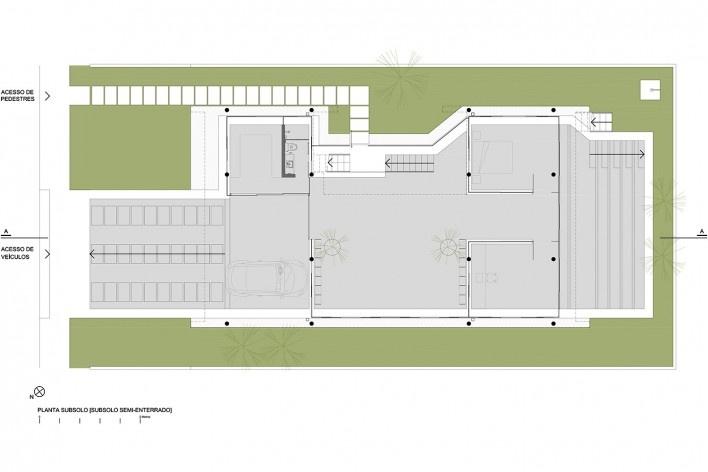 Residência KS, planta subsolo, Natal RN, 2016. Arquitetos Alexandre Brasil, Paula Zasnicoff e Raquel Araújo<br />Imagem divulgação