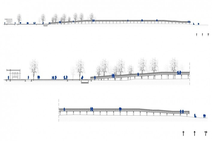 Requalificação urbana e ambiental da orla de Ilha Comprida, Mediador C, corte transversal em duas escalas, 2019. Arquitetos Marcos Boldarini e Lucas Nobre<br />Imagem divulgação