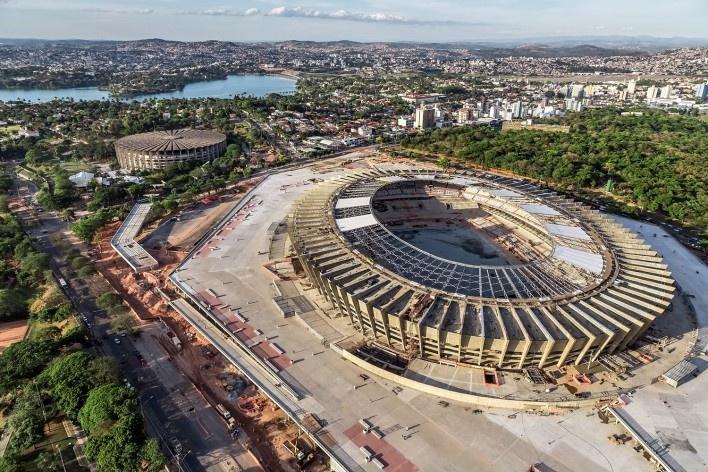 Novo Mineirão, estádio em construção, Belo Horizonte MG. Projeto de reforma e adequação para Copa 2014 do escritório BCMF Arquitetos<br />Foto Alberto Andrich / BCMF Arquitetos  [BCMF Arquitetos]