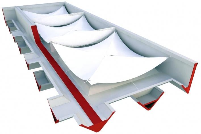 Proposta para Sobre-Cobertura do Edifício Vilanova Artigas, sede da FAU-USP, aplicação da sobre cobertura em mebrana tensionada. Arquiteto Pedro Paulo de Melo Saraiva, 2009<br />Imagem escritório