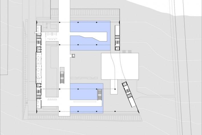Sede do Sebrae Nacional, planta mezzanino – nível 1066,55, Brasília DF, 2010. Arquitetos Alvaro Puntoni, Luciano Margotto, João Sodré e Jonathan Davies