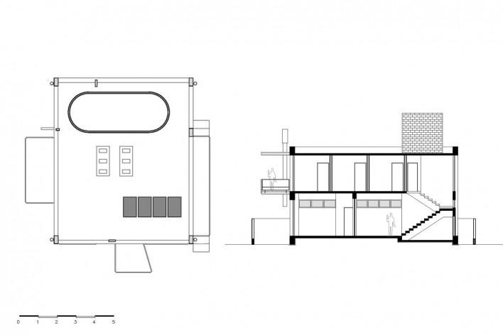 Casa D, planta cobertura e corte AA, Praia Alegre, Penha SC Brasil, 2014. Arquiteto Pablo José Vailatti / PJV Arquitetura<br />Imagem divulgação  [PJV Arquitetura]