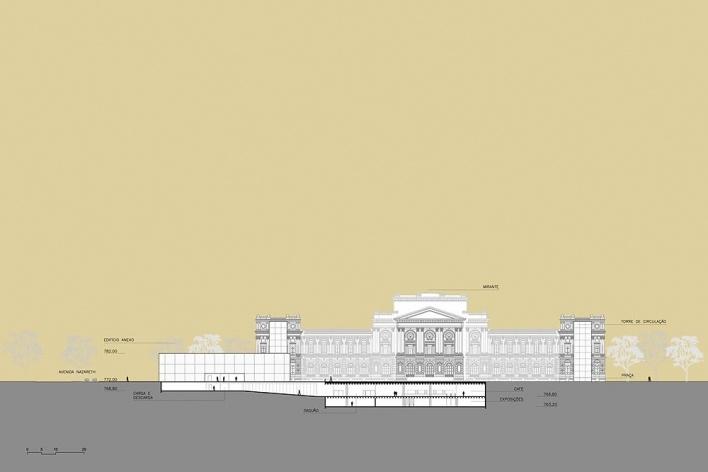 Ampliação do Museu Paulista da USP (Museu do Ipiranga), corte GG. Arquitetos Eduardo Colonelli e Silvio Oksman, 2008<br />Imagem escritório