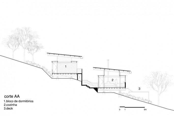 Casa em Gonçalves, corte AA, Gonçalves MG Brasil, 2012-2013. Arquiteto André Vainer / André Vainer Arquitetos<br />Imagem divulgação  [Acervo André Vainer Arquitetos]
