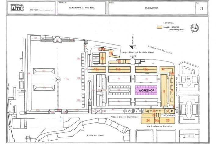 Mapa da área do Mattatoio de Testaccio e Campo Borio: Os edifícos em laranja sinalizam a área ocupada pela Faculdade de Arquitetura da Universidade de Roma 3 e o edifício em rosa o mangiattoio, local do workshop. Os demais edifícios são utilizados por ocu<br />Imagem divulgação