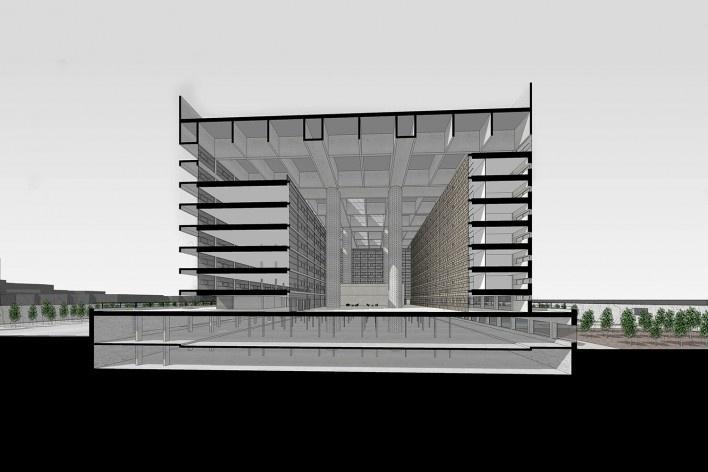 Caja Granada, corte, Granada, Andaluzia, Espanha, 2001. Arquiteto Alberto Campo Baeza<br />Modelo tridimensional Miguel Pastore Bernardi / Imagem Edson da Cunha Mahfuz