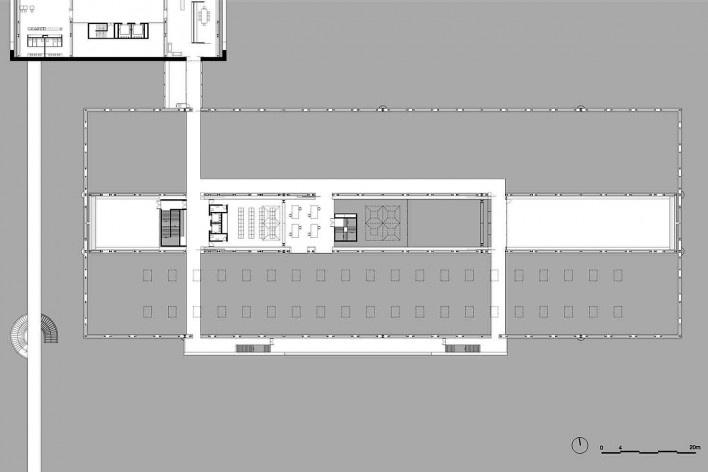 Museu Nacional dos Coches, planta segundo pavimento do pavilhão principal (piso técnico), Lisboa. Arquiteto Paulo Mendes da Rocha, MMBB arquitetos e Bak Gordon arquitetos<br />Imagem divulgação