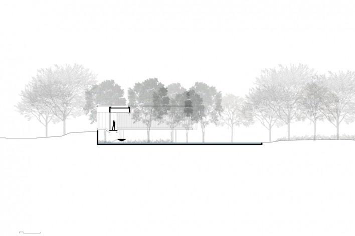 Casa em Cotia, UNA Arquitetos, 2016, corte DD<br />UNA Arquitetos