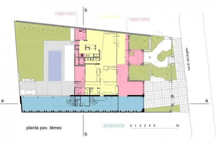 Casa de Ipanema, planta das etapas, Sergio M. Marques, 2007/2009<br />Desenho Sergio M. Marques
