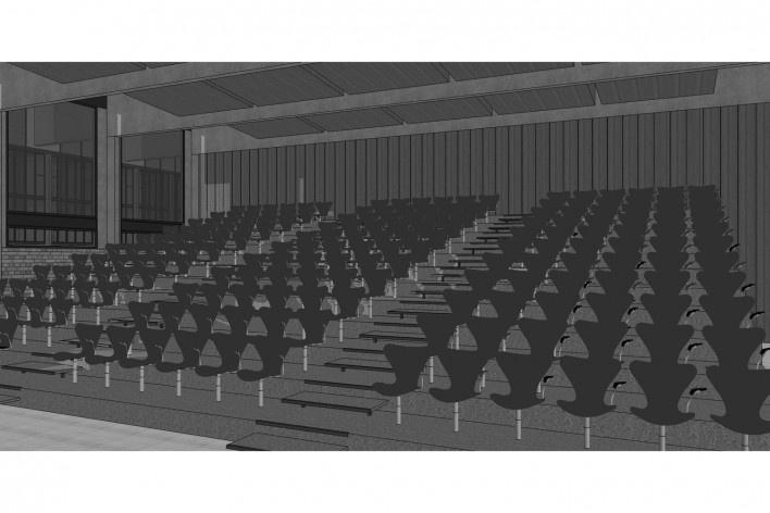 Saint Catherine's College, vista interior do auditório, Oxford, Inglaterra, 1959-1964, arquiteto Arne Jacobsen<br />Modelo tridimensional de Edson Mahfuz e Ana Karina Christ