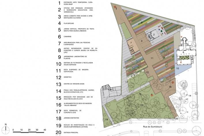 Praça Victor Civita - Museu Aberto da Sustentabilidade, planta – programa, São Paulo. Levisky Arquitetos Associados, 2008<br />Desenho do escritório