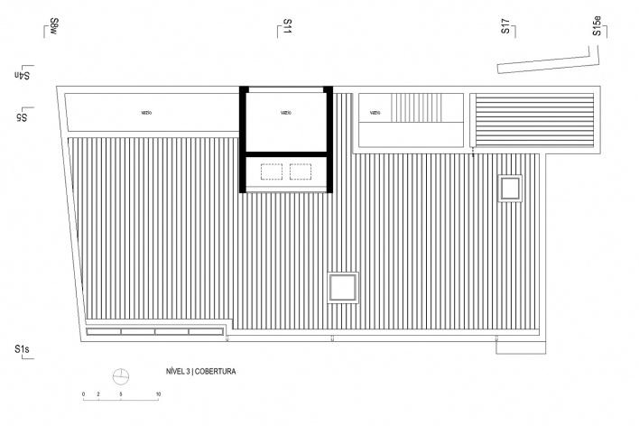 Museu de Arqueologia de Vila Real, planta nível 3 / cobertura<br />Desenho Escritório António Belém Lima