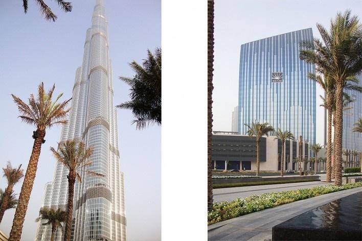 À esquerda, Burj Khalifa; à direita, Centro financeiro nos arredores do Burj Khalifa<br />Foto Luiz Gustavo Sobral Fernandes