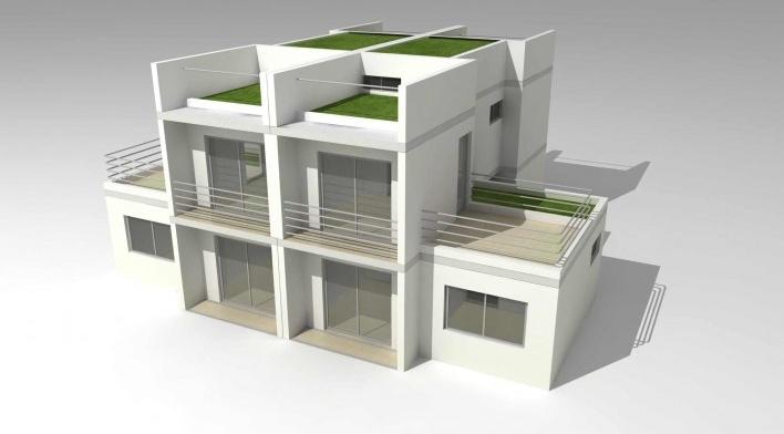 Maquete eletrônica de casas geminadas. Concurso Habitação para Todos.CDHU.Sobrados - 2º Lugar.<br />Autores do projeto  [equipe premiada]