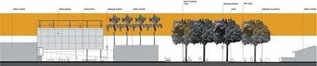 Eixo estar urbano-expansão ao vazio urbano<br />Imagem dos autores do projeto