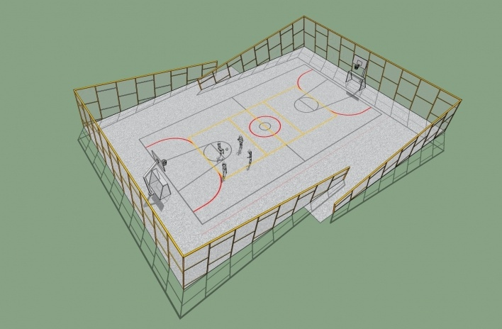 Modelo 3D - Quadra<br />Imagem dos autores do projeto