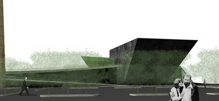 Vista lateral a partir do estacionamento descoberto<br />Imagem do autor do projeto
