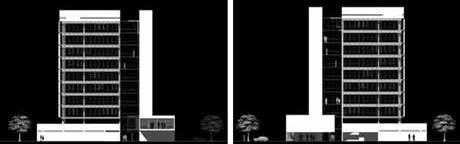 Elevações norte e sul<br />Imagem dos autores do projeto