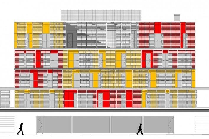 Conjunto Habitacional Fira de Barcelona – L'Hospitalet de Llobregat, fachada sul de um dos edifícios, Barcelona 2009. ONL Arquitectura<br />Imagem divulgação