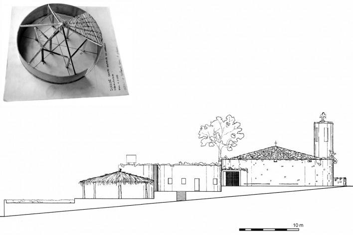 Igreja Espírito Santo do Pinhal, maquete e corte longitudinal, Uberlândia, 1976<br />Imagem divulgação  [Instituto Bardi]