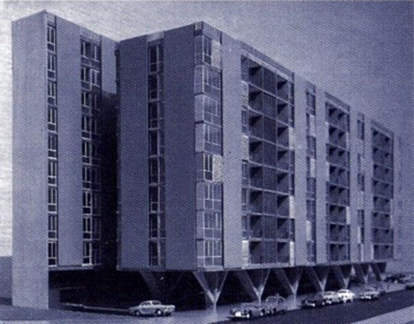 """Maqueta definitiva del Edificio Mediterráneo<br />Foto divulgação  [""""Antonio Bonet Castellana""""(Colégio de Arquitectos de Cataluña, 1999)]"""