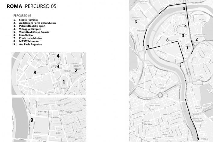 Roma, percurso 5<br />Mapa de viagem