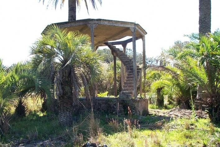 Foto 2: Coreto cercado por um fosso e tomado por palmeiras nativas em 2003