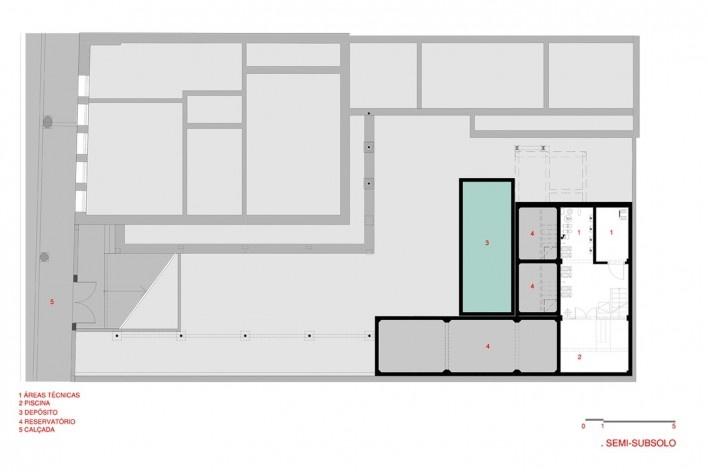 Hostel Villa 25, semi-subsolo, Rio de Janeiro RJ Brasil, 2016. Arquitetos Rodrigo Calvino e Diego Portas / C+P Arquitetura<br />Imagem divulgação