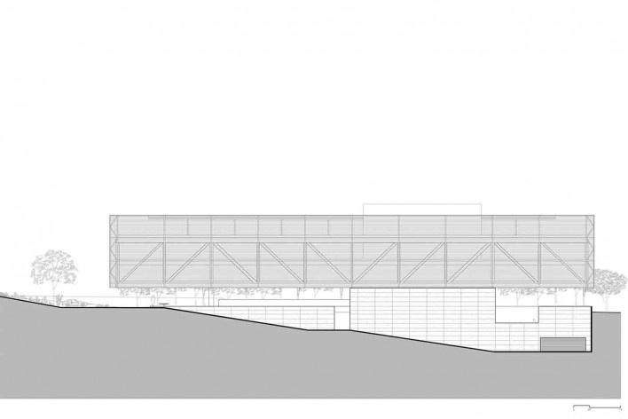 Nova sede da Confederação Nacional de Municípios – CNM, elevação, Brasília DF, 2016. Arquitetos Luís Eduardo Loiola e Maria Cristina Motta / Mira Arquitetos<br />Desenho divulgação