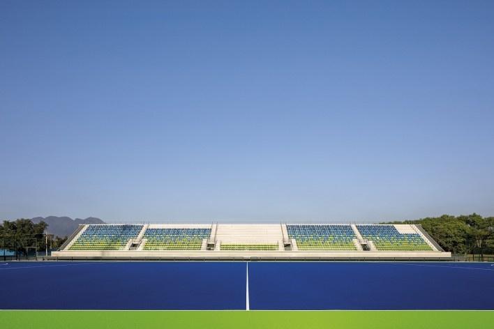 Centro Olímpico de Hóquei sobre Grama, Parque Olímpico de Deodoro, Rio de Janeiro, RJ, Escritório Vigliecca & Associados<br />Foto Leonardo Finotti