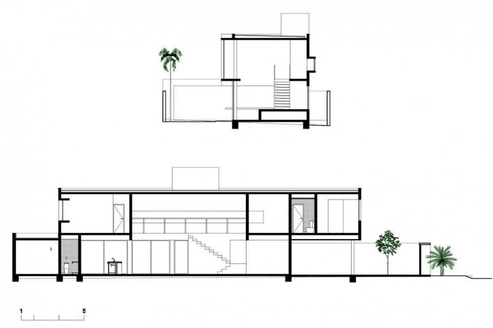 Casa vale do sol, cortes transversal e longitudinal. Marcos Franchini