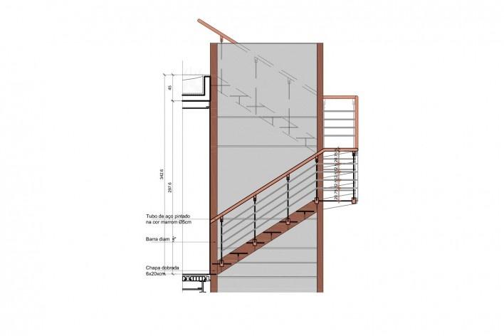 Casa Lutzenberger, escadas, elecação B. Reforma Kiefer arquitetos