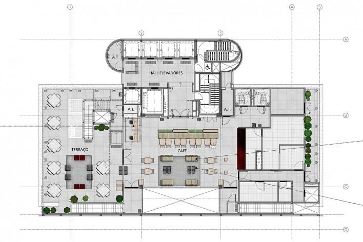 Sesc Avenida Paulista, planta 15º pavimento - café, escritório Königsberger Vannucchi, 2018 <br />Imagem divulgação  [Königsberger Vannucchi Arquitetos Associados]
