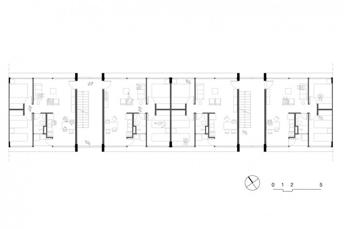 Planta lamina ampliada, conjunto habitacional do Jardim Edite<br />Desenho MMBB & H+F